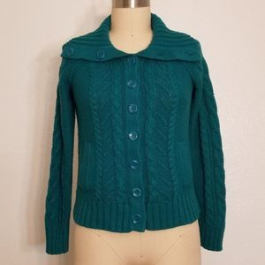 Turquoise Cable Knit Cardigan Size S Petite